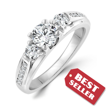 Sterling Silver 3 Carat CZ Niagara Engagement Ring