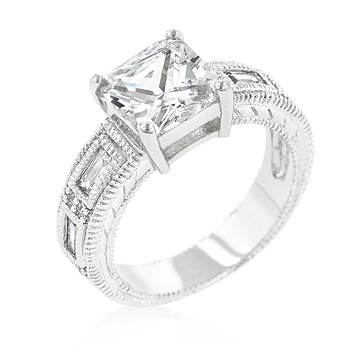 Classic 5-Stone Engagement Ring Princess & Emerald Cut CZ