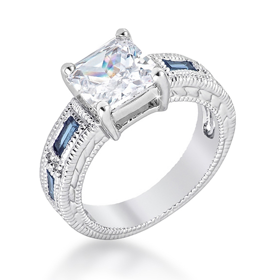 Contemporary Prima Donna Sapphire CZ Engagement Ring