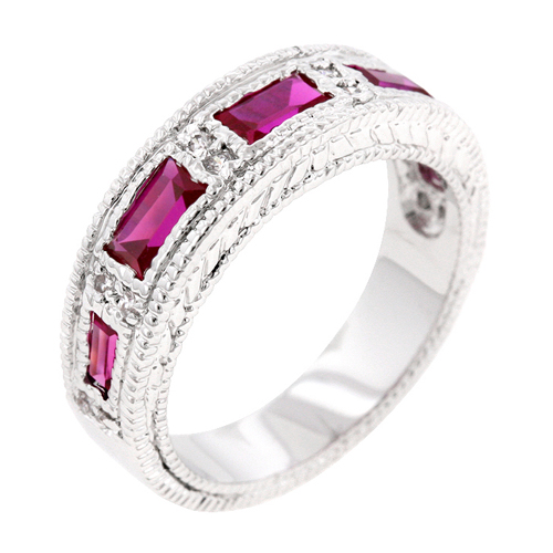 Extraordinary Garnet Bezel Eternity Wedding Band