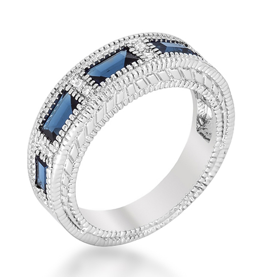 Extraordinary Sapphire CZ Bezel Eternity Wedding Ring
