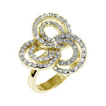 Cocktail Pave Swirls Fashion Ring
