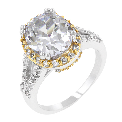 5 Carat Oval Cut Coronation Engagement Ring Pave CZ