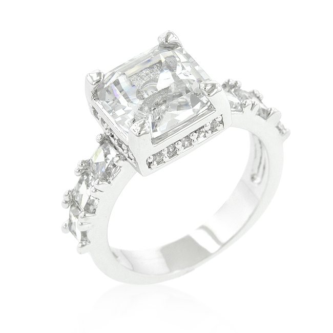 Classic Asscher Cut Engagement Ring 4 CT Clear Round CZ
