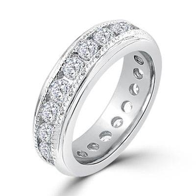 New England Eternity Wedding Ring in Silver Tone 4.5 Carat CZ