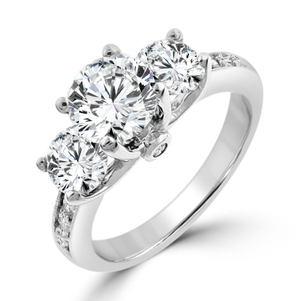 elizabeth encore dt three stone engagement ring - Wedding Rings Under 100