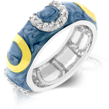 Blue Enamel Horseshoe Ring - A Gift with Passion