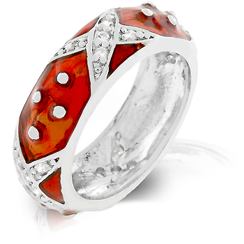 Fashion Marbled Ruby Red Enamel Ring