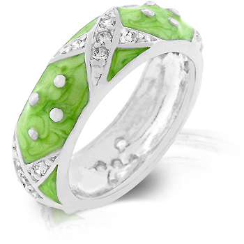 Marbled Apple Green Enamel Ring