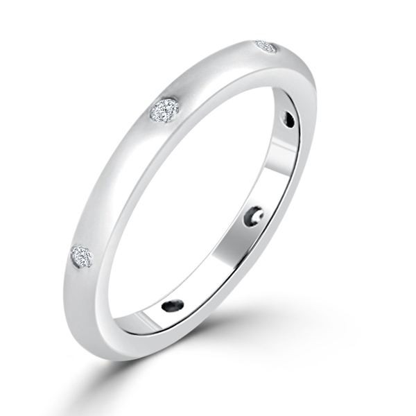 Contemporary Silver Tone Matte Wedding Band
