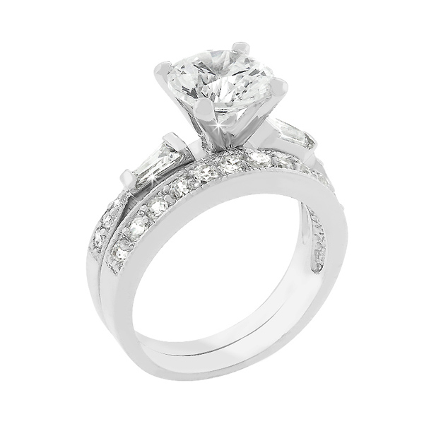 Contemporary Cubic Zirconia Wedding Ring Set