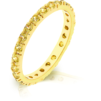 Yellow CZ Eternity Wedding Ring Fashion Jewelry Gifts