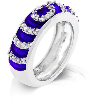 Navy Blue Enamel Ripple Ring - Online Jewelry