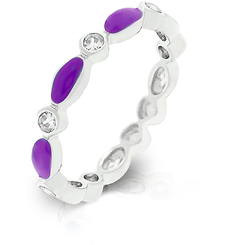 Fashion Purple Link Enamel Stacker Wedding Ring