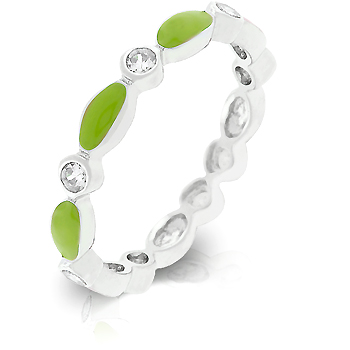 Contemporary Lime Green Link Enamel Wedding Ring