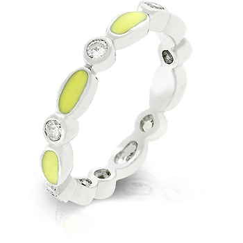 Contemporary Yellow Link Enamel Stacker Ring