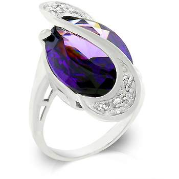 Baroque Pave Strip Amethyst Ring