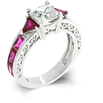 3.5 CT Contemporary Ruby CZ Regal Engagement Ring