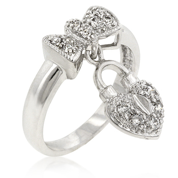 Classic Heart Lock Ribbon Ring