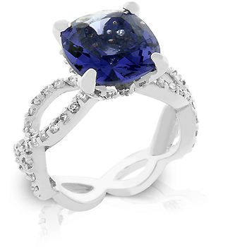 Cocktail Uptown Classic Engagement Ring w Purple Sapphire CZ