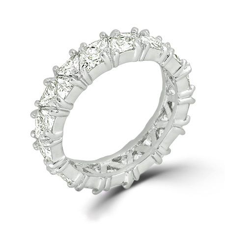 Silver Tone Trillion Eternity Wedding Band Under $100
