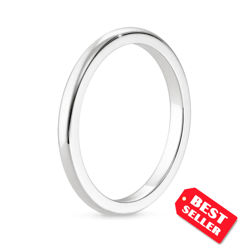 2 mm Comfort Fit Thin Classic Plain Wedding Band Ring