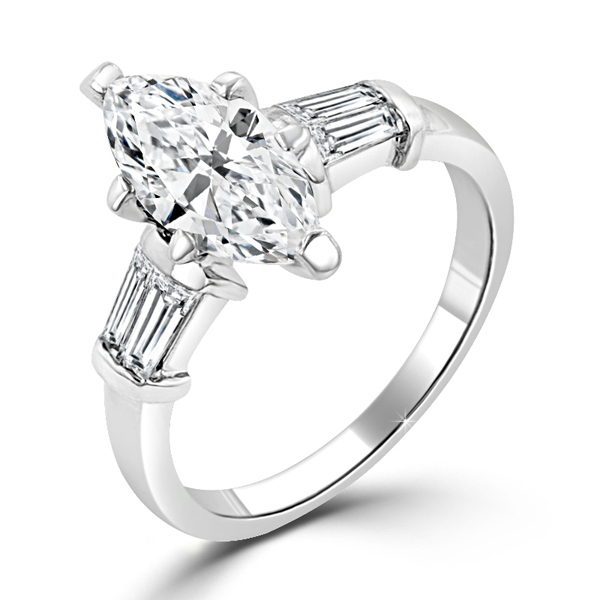 2 Carat Marquise Silver Centerpiece Engagement Ring