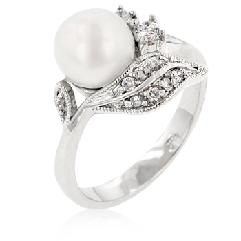 Engagement Ring Floral Fleur Freshwater Pearl 1 Carat