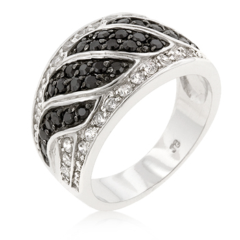 Cocktail Black & White Swirl Ring