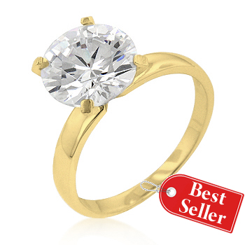 Timeless Gold Solitaire Silver Engagement Ring Under $100