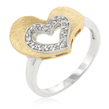 Two-Toned CZ Heart Engagement Ring