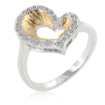 Symbolic Accented Two-Toned Heart Engagement Ring