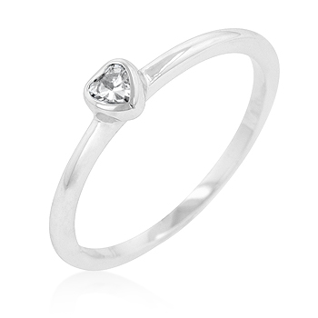 Clear Heart Solitaire Engagement Ring Bezel Setting CZ