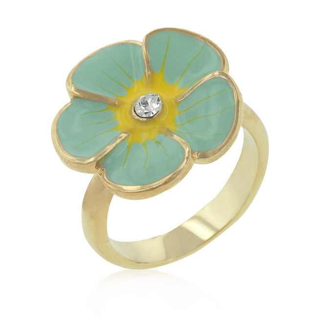 Light Blue Enamel Floral Ring