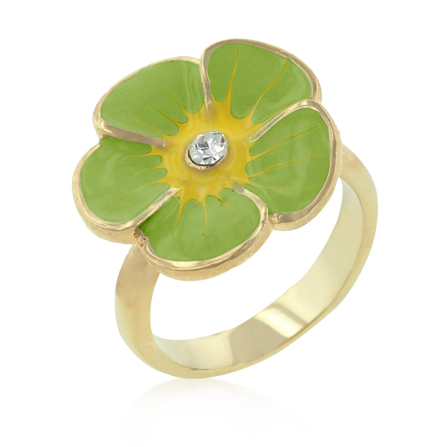 Light Green Enamel Floral Ring