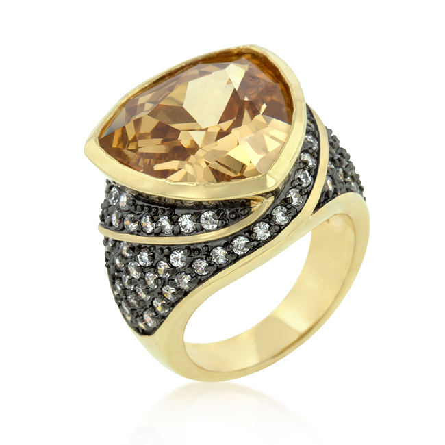 Triangle Cut Two-Tone Cocktail Ring