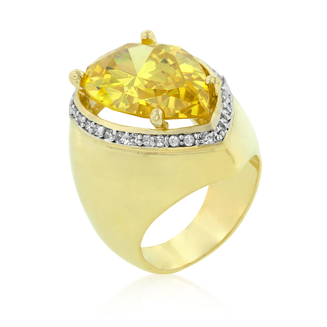 Yellow Pear CZ Cocktail Ring From DT Jewellers