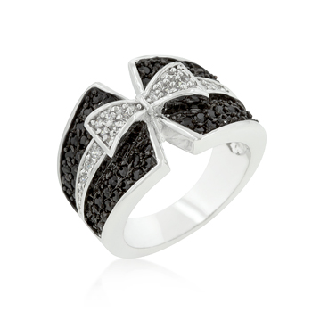 Cocktail Jet Black and Clear Cubic Zirconia Bow Tie Ring