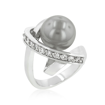 Fashion Silver Tone Knotted Simulated Pearl Ring