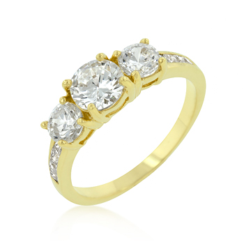 3.3 CT Three-Stone Golden Nugget Engagement Ring