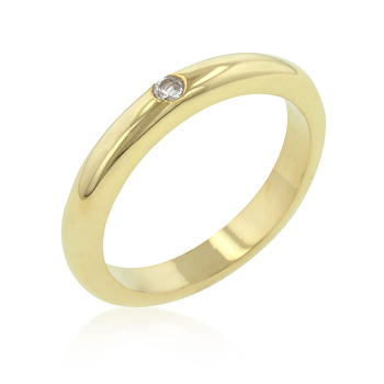 0.3 CARAT Solitaire CZ Golden Wedding Band Ring