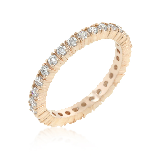 Rose Gold Plated 2.5 CT Cubic Zirconia Eternity Wedding Ring
