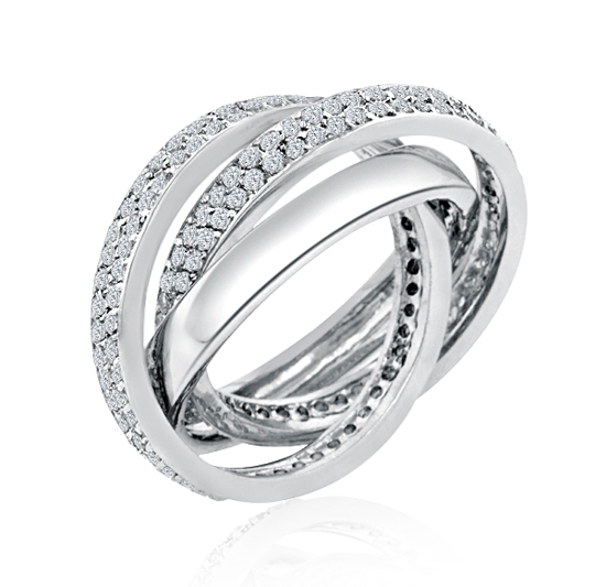 Trinity Cartier Inspired Rolling Wedding Ring Eternity Pave
