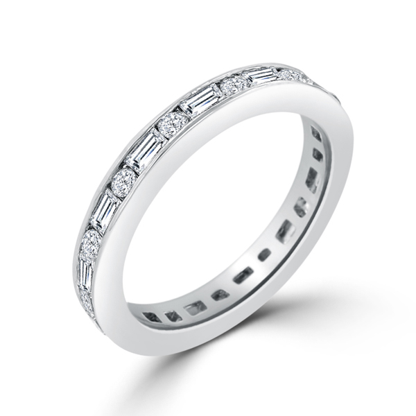 Alternating CZ Eternity Wedding Ring 2.6 CT Cubic Zirconia