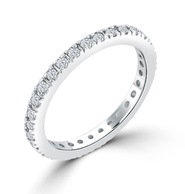 Delicate CZ Eternity Wedding Ring 1.5 CT Cubic Zirconia