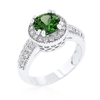 Bridal Emerald Halo Engagement Ring 4.2 CT