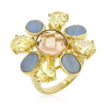 Multi-CZ Floral Golden Ring - DT Jewellers