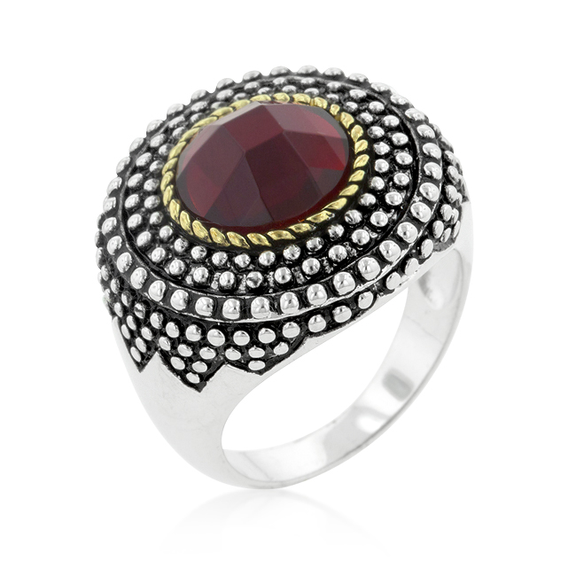 Cable Textured Red Crystal Cocktail Ring