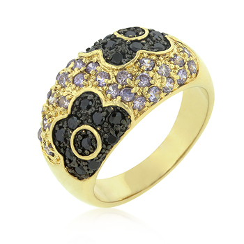 Cocktail Purple and Black Rose Ring