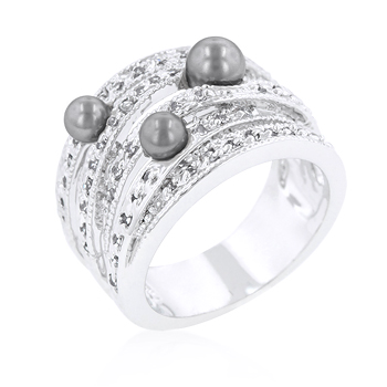 Fashion Gray Pearl Cocktail Ring